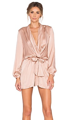 Zimmermann Sueded Silk Wrap Playsuit in Peony