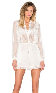 Zimmermann Mischief Frill Playsuit in Pearl