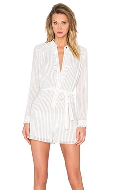 Pinstripe Tuxedo Playsuit in Natural