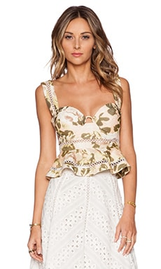 Zimmermann Admire Fluted Bustier Top in Floral