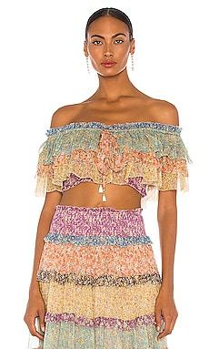 Carnaby Off Shoulder Silk Tiered Top Zimmermann $425 Collections