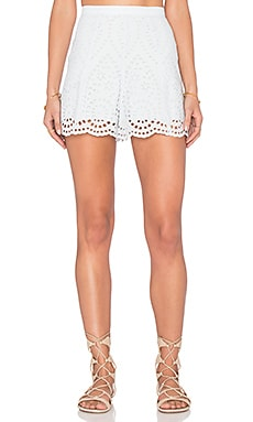 Zimmermann Epoque Broderie Flare Short in Dusty Blue