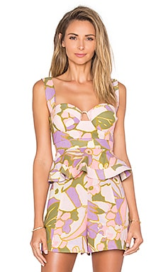 Zimmermann Lotte Quilted Bustier in Pink Floral