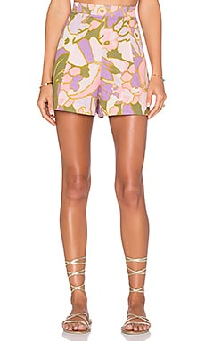 Zimmermann Lotte Quilted Flare Short in Pink Floral