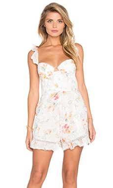 Zimmermann Belle Bustier Paysuit in Floral Embroidery