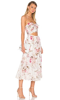 Eden Embroidered Tie Maxi Dress in Floral Embroidery