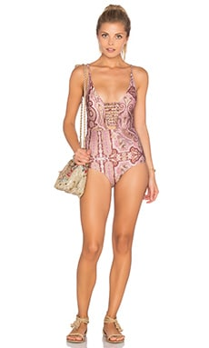 Zimmermann Realm Harness One Piece Swimsuit in Pink Paisley