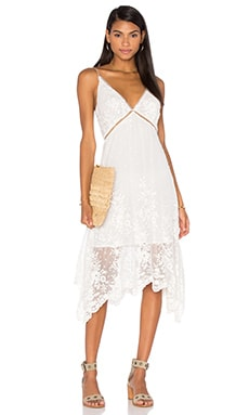 Roza Silk Veil Asymmetric Dress en Blanc