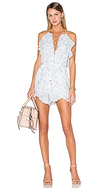Zimmermann Zephyr Vine Halter Playsuit in Floral Embroidery