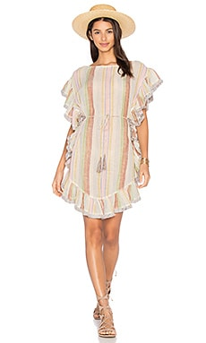 Tropicale Flutter Fringe Dress in Multi Stripe