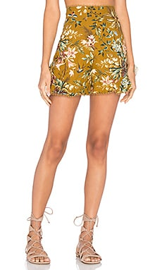 Tropicale Flutter Shorts en Fleurs Moutarde