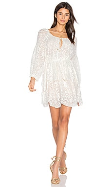 Gossamer Scallop Mini Dress in Ivory