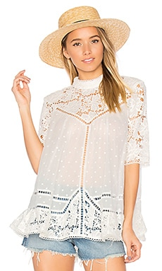 Caravan Embroidered Smock Top en Ivory