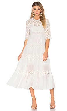 Oleander Diamond Lace Tier Dress in Ivory