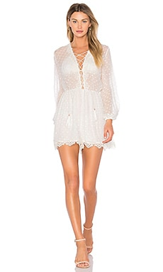 Oleander Lattice Romper en Ivoire