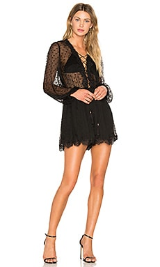 Oleander Lattice Romper in Noir