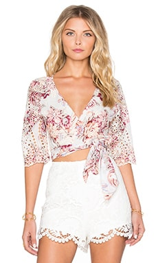 Zimmermann Epoque Broderie Flutter Wrap Top in Floral