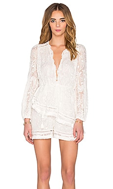 Zimmermann Henna Floating Fringe Playsuit in Ivory