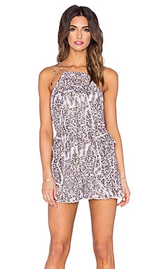 Zimmermann Henna Frippery Playsuit in Taupe Floral