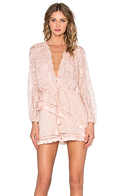 Zimmermann Henna Floating Fringe Playsuit in Rose