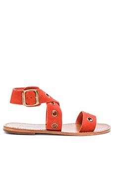 Zimmermann Suede Eyelet Flat Sandal in Rust