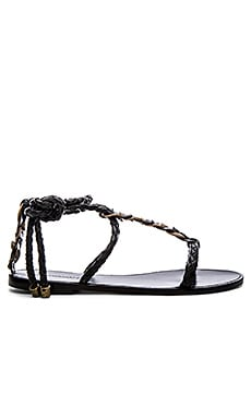 Zimmermann Link Weave Tie Sandal in Black & Olive
