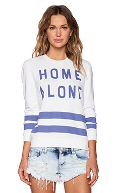 Zoe Karssen Home Alone Loose Fit Sweatshirt in Optical White & Blue