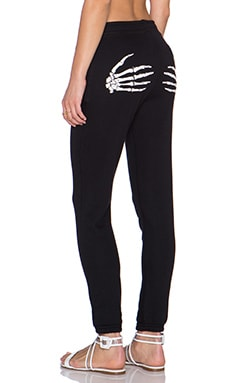 Zoe Karssen Skeleton Hands Slim Fit Sweatpant in Pirate Black