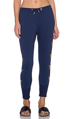 Zoe Karssen Stars Slim Fit Crop Sweatpant in Medieval Blue