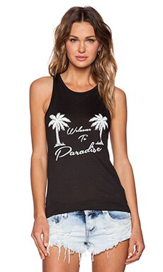 Zoe Karssen Welcome to Paradise Classic Tank in Pirate Black