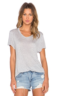Zoe Karssen Loose Fit V Neck Tee in Grey Heather