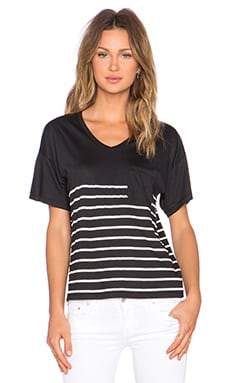 Zoe Karssen Stripe Box Fit V Neck Pocket Tee in Pirate Black & White