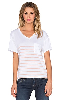 Zoe Karssen Short Sleeve Striped Tee in White & Rose Cloud