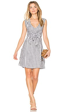 Trail Wrap Dress in Gray & White Stripes