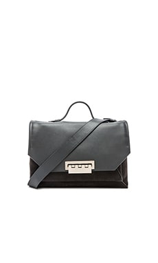 Zac Zac Posen Eartha Envelope Suede Courier Crossbody in Slate