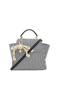 Eartha Iconic Convertible Striped Canvas Backpack in Navy