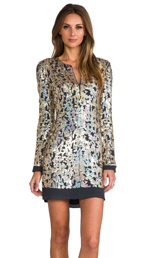 Digital Sequins Long Sleeve Dress