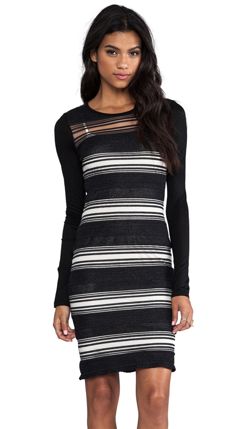 Sheer Stripe Long Sleeve Dress