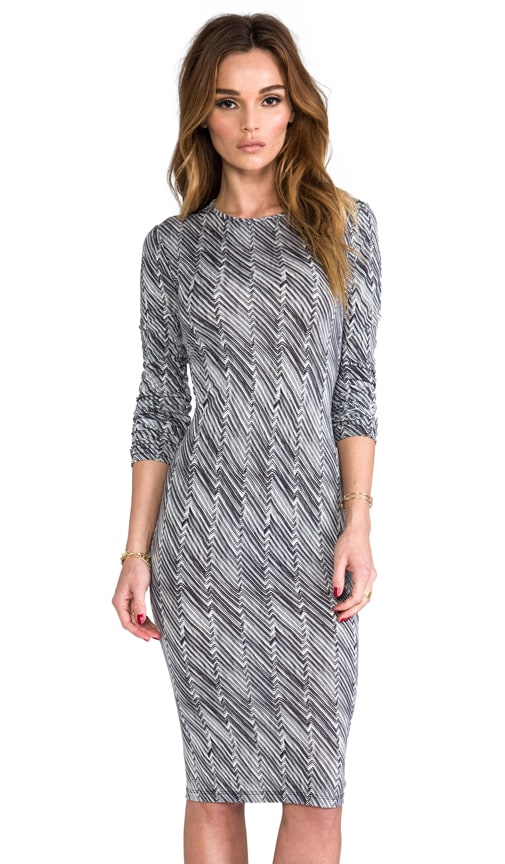 Zig Zag Print Long Sleeve Dress