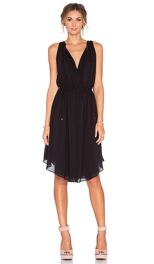 DEREK LAM 10 CROSBY Sleeveless Gathered Dress in Black