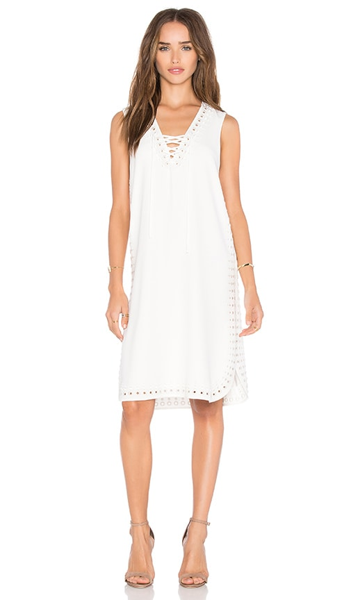 DEREK LAM 10 CROSBY Grommet Embroidery Lace Up Tank Dress in Soft White