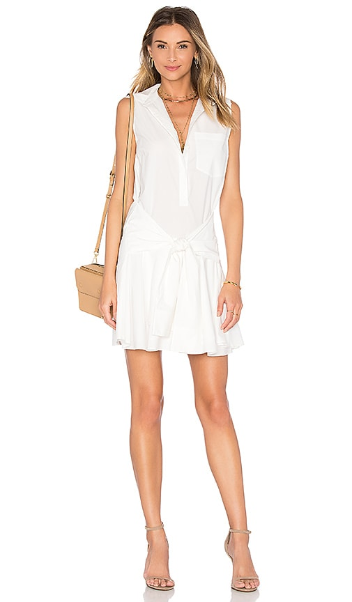 DEREK LAM 10 CROSBY Sleeveless Tie Waist Shirtdress in White