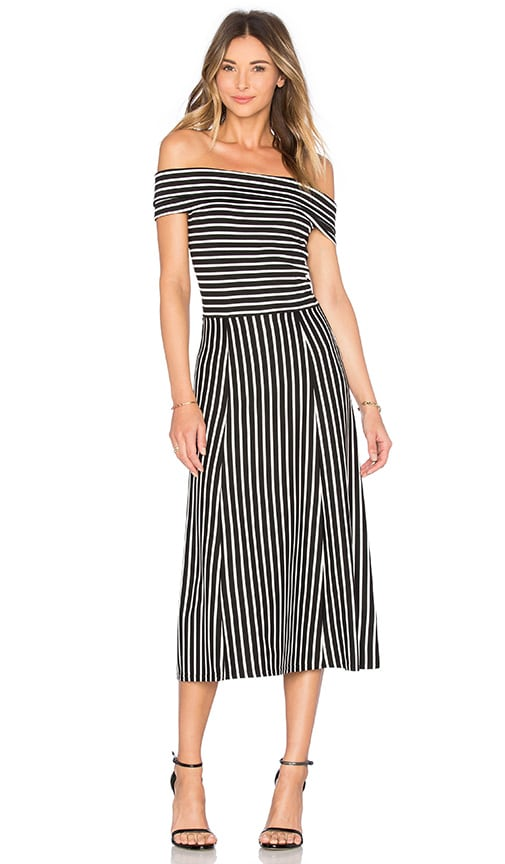 DEREK LAM 10 CROSBY Off The Shoulder Full Skirt Dress in Midnight Stripe