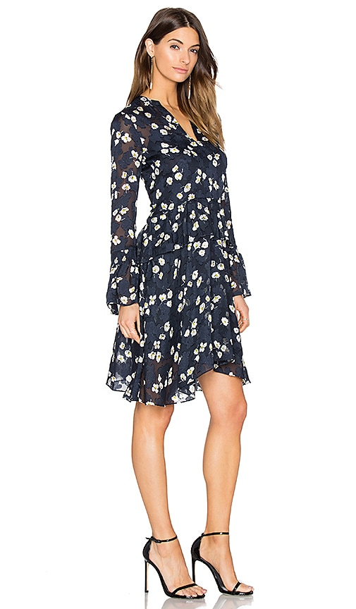 DEREK LAM 10 CROSBY Bell Sleeve Dress in Midnight Multi