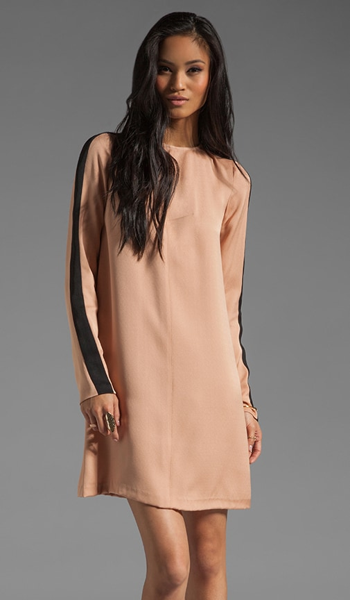 Silk Tuxedo Sleeve Tunic Dress