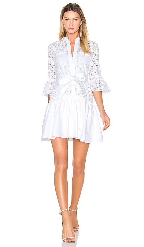 DEREK LAM 10 CROSBY Button Down Ruffled Hem Shirt Dress in White