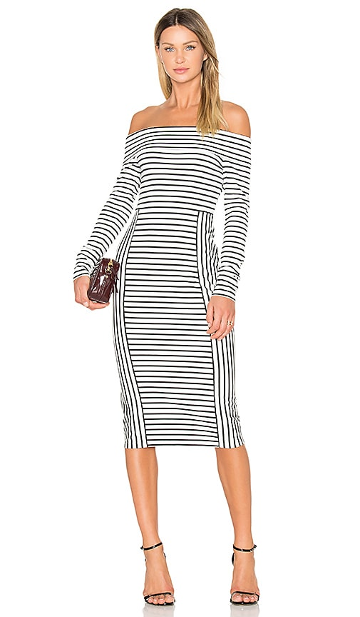 DEREK LAM 10 CROSBY Long Sleeve Off The Shoulder Midi Dress in Black & White