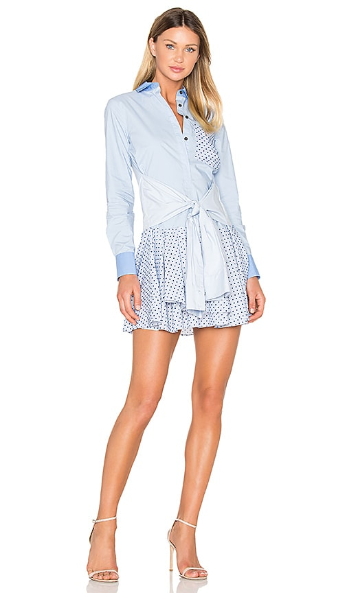 DEREK LAM 10 CROSBY Tied Waist Mini Dress in Blue