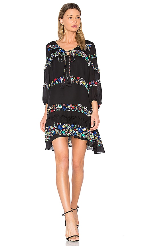 DEREK LAM 10 CROSBY Floral Bell Sleeve Ruffle Dress in Black