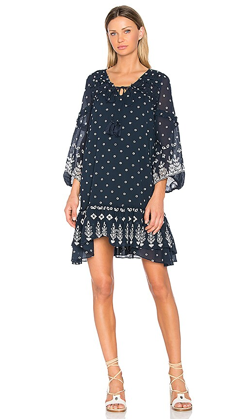 DEREK LAM 10 CROSBY Bell Sleeve Ruffle Dress in Navy